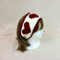 Valentine Headband Ear Warmer Heart Earmuffs Red Large Wide Crochet