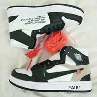 """Nike Air Jordan I x OFF-White"" Unisex Casual Fashion Multicolor Letter High Help Plate Shoes Couple Basketball Sneakers"