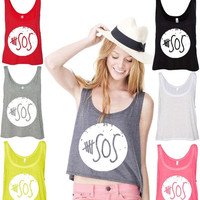 5 Seconds of Summer White logo boxy tank top New Design 5sos White logo sleeveless