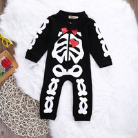 Halloween Newborn Baby Girl Boys Skeleton Long Sleeve Romper Cotton  zipper Jumpsuit Playsuit Outfits Halloween Costume