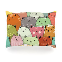 "Snap Studio ""Kitty Attack"" Cat Illustration Oblong Pillow"