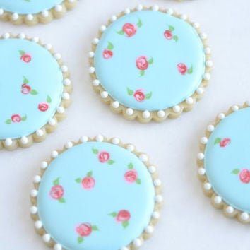 Shabby chic vintage tea party rose decorated sugar cookies