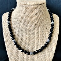 Mens Black Onyx and Silver Barrel Beaded Necklace