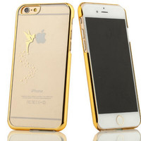Fairy Tinkerbell Logo Laser Carving Clear Transparent Case For iPhone 4 5 5S 6 6 Plus