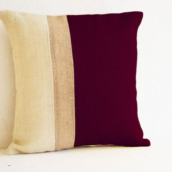 Burgundy Pillow - Burlap Pillow color block - Maroon White Decorative cushion cover- Throw pillow gift 20X20 - Burgundy White Euro Sham