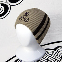 Celtic Triskele Beanie Two Tone Brown Cap Hat Triskelion Embroidery