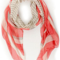 Au Revoir Grey and Coral Pink Striped Scarf