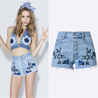 Fashion Casual Female Retro Boho High Waist Embroidery 3D Stereo Flowers Tassel Shorts Jeans Hot Pants  Large Size