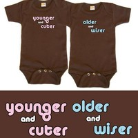 Baby Twin Boy/Girl Gift Set, Choose from Sizes 0 - 18 mo (Includes 2 Brown Shirts)
