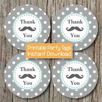 MUSTACHE Thank You Tag Little Man Party Favor Label Baby Shower Birthday Party Light Teal Grey Little Man Stickers INSTANT DOWNLOAD - 158