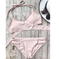 Cute pure pink halter chest straps cross bottom side open two piece bikini
