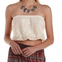 Ivory Bloused Lace Tube Top by Charlotte Russe