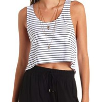 Striped High-Low Cropped Muscle Tee by Charlotte Russe - Black Combo