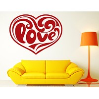 Vinyl Decal Love and Romance Wall Stickers Heart Inscription Love Pattern Smooth Lines Unique Gift (n354)