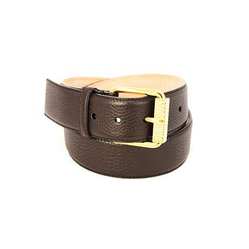 Moschino Embossed Brown Leather Belt