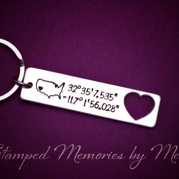 Home - Coordinates - Hand Stamped Aluminum Personalized Key Chain - Long Distance - Deployment Gift - Keychain with Longitude and Latitude