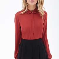 FOREVER 21 Peter Pan Collar Blouse Rust