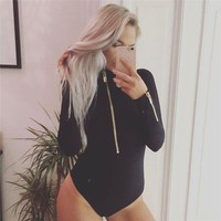 BKLD Sexy Black Bodysuit Women 2017 Autumn New Fashion Long Sleeve Bodysuit Casual Zipper Winter Jumpsuit Romper