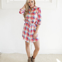 Chill With Me Plaid Tie Dress