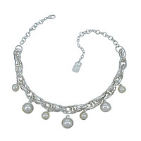Chunky Link Chain with Dangle Pearls - Silver
