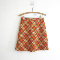 vintage orange plaid mini skirt. 1970's mod skirt. women's skirt