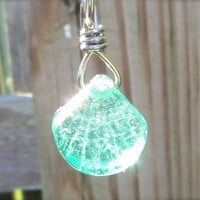 Sea Green Clam Shell Glass Necklace by Wave of Life