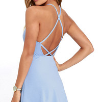 Soft Strumming Periwinkle Blue A-Line Dress