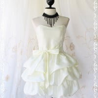 Prom Queen II - Bubble Balloon Dress Ivory Color Bubble Skirt Strapless Cocktail Prom Party Wedding Dress Matching Tie