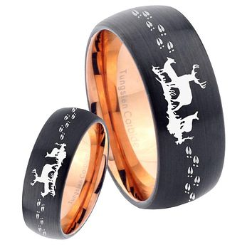 His Hers Deer Hunting Dome Tungsten Rose Gold Mens Wedding Band Set