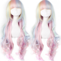 Beautiful Rainbow Long Curls Lolita Wig $ 23.99-Princess Wigs - My Lolita Dress