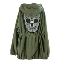 Back Skull Army Green Jacket Loose Hooded