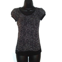 Black and Gray Zebra Print Top Tee Shirt Womens Clothing Size XS
