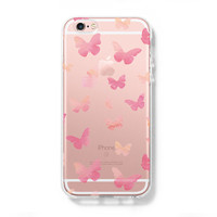 Pink Butterfly iPhone 6s 6 Case iPhone 6+ SE Case Galaxy S6 Edge Clear Hard Case C162