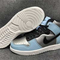 NIKE DUNK HI LX Silver/Blue/Black 881233-002 36--45