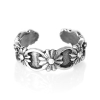 Flowers Sterling Silver Toe Ring