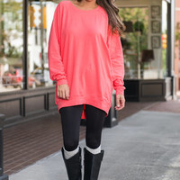 Slouchy Dolman Tunic Long Sleeve, Coral