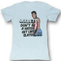 Saved By The Bell - Womens Slater Hater T-Shirt In Light Blue Bf Tee