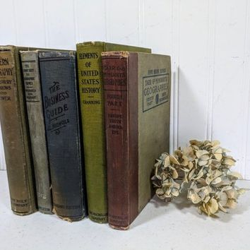 Decorative Old Books Set of 5 in Earth Tones Blue Green Grey Browns Vintage Books Lot for Decor Journaling Scrapbooking Projects Repurposing