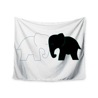 "NL Designs ""Black And White Elephant Love"" Black White Wall Tapestry"