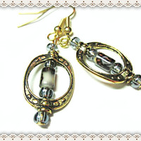 Oval Framed Earrings~Women's Dangle Earrings~Tiny Flowers On A Tube Bead