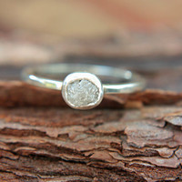 Rough Diamond Ring Sterling Silver Raw Diamond Engagement Ring Size 6 Silversmithed Metalsmithed