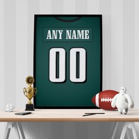 Philadelphia Eagles Jersey Poster - Print Personalized Select ANY Name & ANY Number