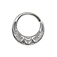 316L Stainless Steel Egyptian Winged Sun Seamless Rings / Cartilage Earrings