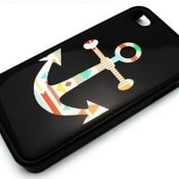 BLACK Snap On Hard Case IPHONE 4 4S Plastic Skin Cover - Mayan Aztec Anchor colorful tribal navajo sailor rainbow rope