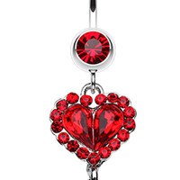 Crystal Heart in Heart Belly Button Ring