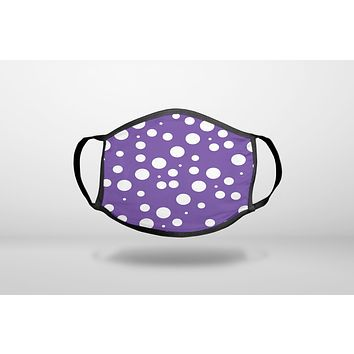 Purple White Bubbles Polka Dots - 3-Ply Reusable Soft Face Mask Covering, Unisex, Cotton Inner Layer