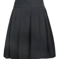 Metal Button Embellished Pleated Skirt