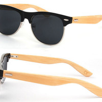 Half Frame Bamboo Sunglass 2015 Fashion Wooden Sunglasses Men Women Brand Designer Sun Glasses Oculo De Sol Masculino