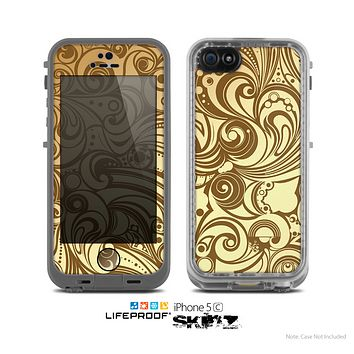 The Vintage Antique Gold Vector Pattern Skin for the Apple iPhone 5c LifeProof Case