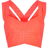 River Island Womens Bright pink quilted strappy bralet